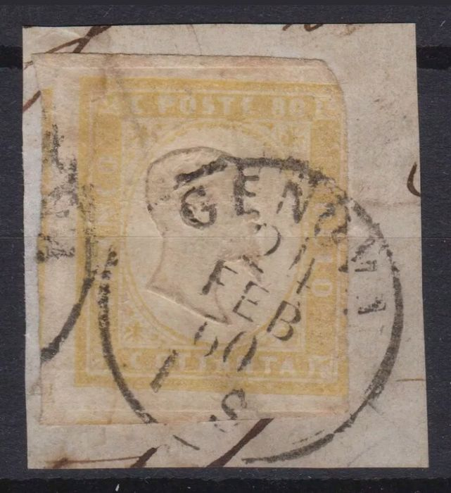 Sardinië 1858/1862 - 80 cents pale ochre yellow on fragment with cancellation of Genoa - Sassone N. 17A