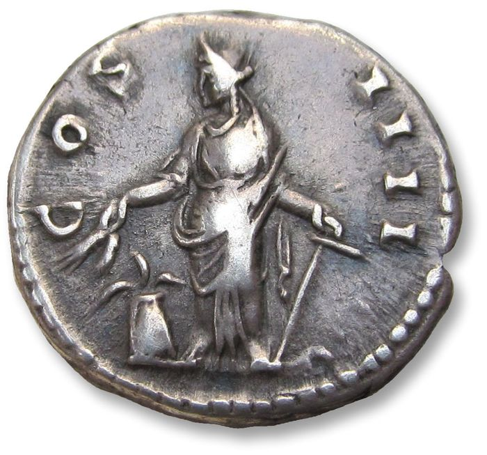 Roman Empire - AR denarius, Antoninus Pius. Rome mint 148-149 A.D. - COS III, Annona left with modius filled with grain at feet - Silver