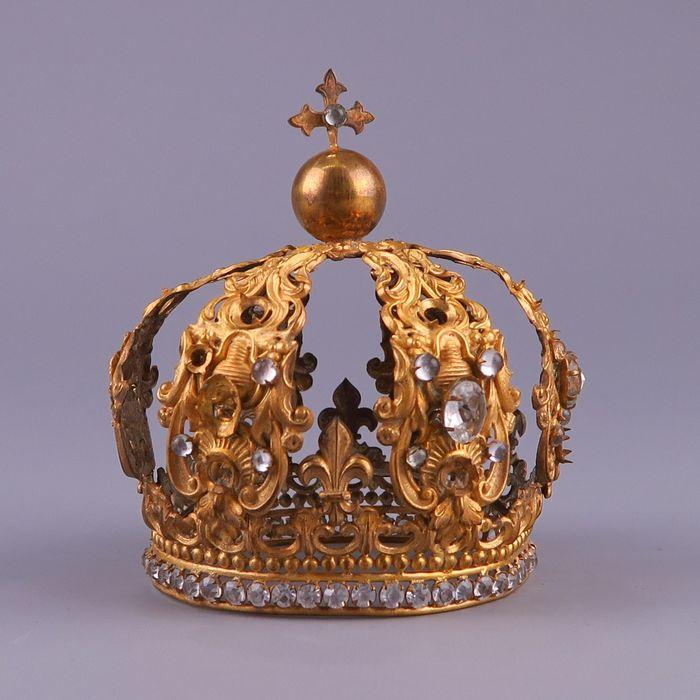 Antique gilt brass and jeweled crown - Maria crown, late 19th century. - Baroque - Brass - Late 19th century
