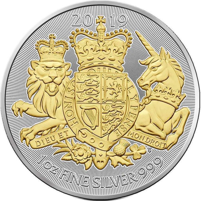 United Kingdom - 2 Pounds 2019 Royal Coat of Arms gilded - 1 oz - Silver