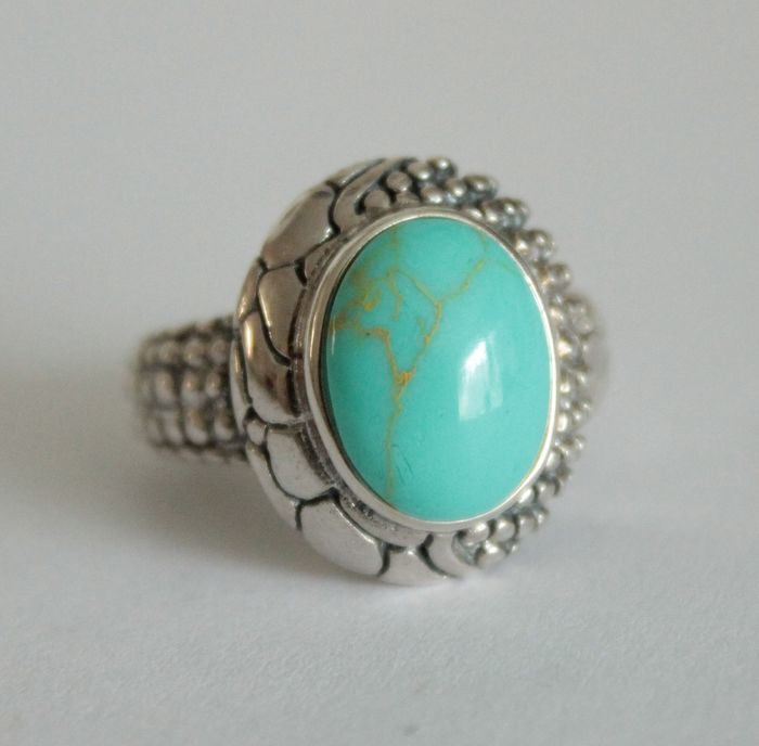 925 Silver - Ring - 5.60 ct Turquoise
