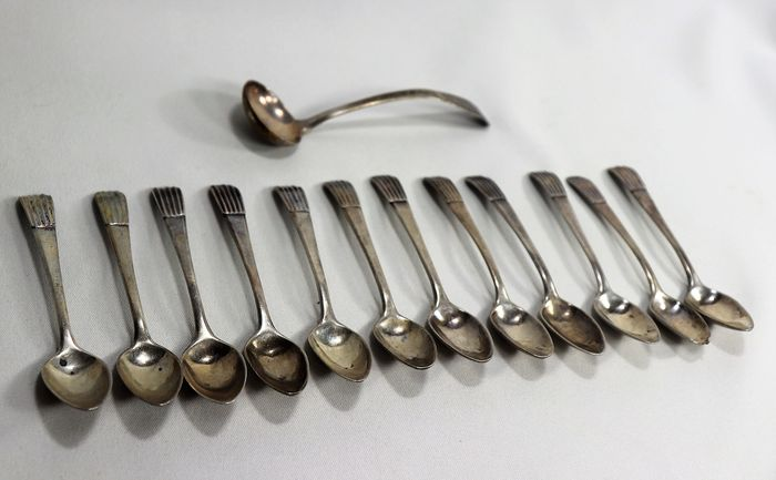 Silver Tea Spoons (13) - 833/1000 - Portugal - (1877 to 1881)