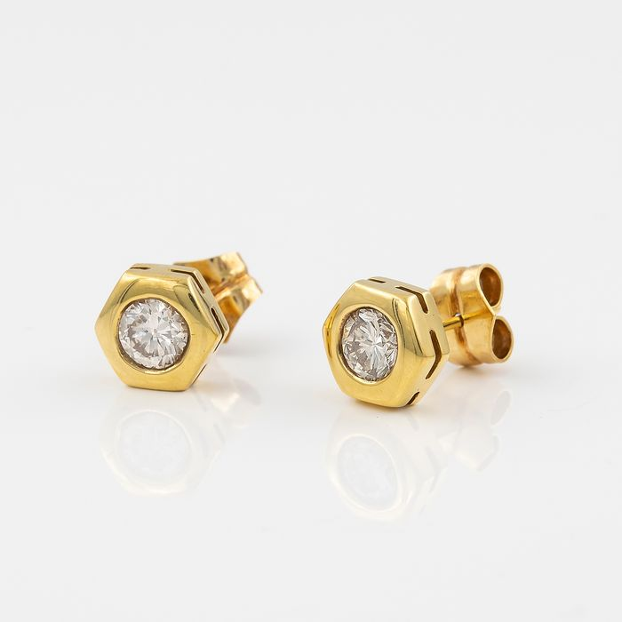 18 kt. Yellow gold - Earrings - 1.00 ct Diamond