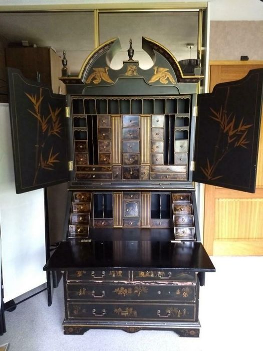 Fine Cupboard Desk Writing Table Black Lacquer And Parcel Gilt Japanned Secretaire Bookcase Queen Anne Style Catawiki Download Free Architecture Designs Rallybritishbridgeorg