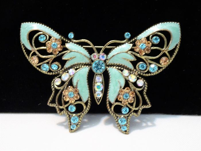 Nina Ricci for Avon - Enameled metal & Rhinestones - Large Victorian Butterfly Brooch - New York