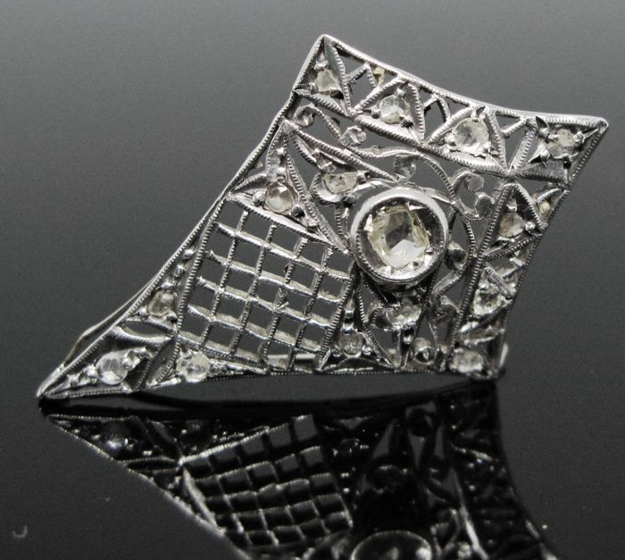 Artisanal and fine engraved - 925 Ασημί - Κρεμαστό κόσμημα - 0.65 ct αντίκα διαμάντια-τριαντάφυλλο-πολύπλευρη-κομμένα