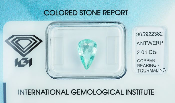 "No Reserve -  ""Paraiba"" Tourmaline - 2.01 ct"
