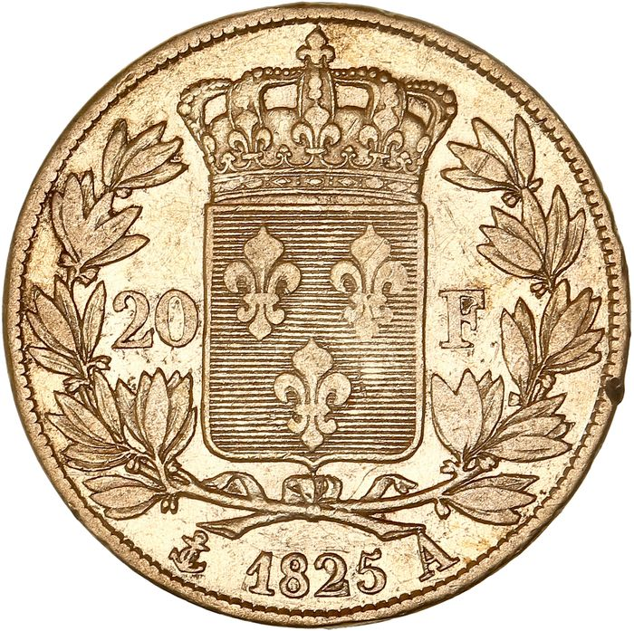 France - 20 Francs 1825-A Charles X - Or