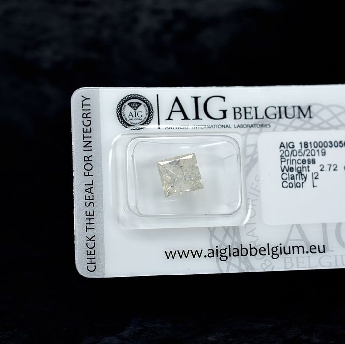 Diamant - 2.72 ct - Prinses - L - I2 - NO RESERVE PRICE