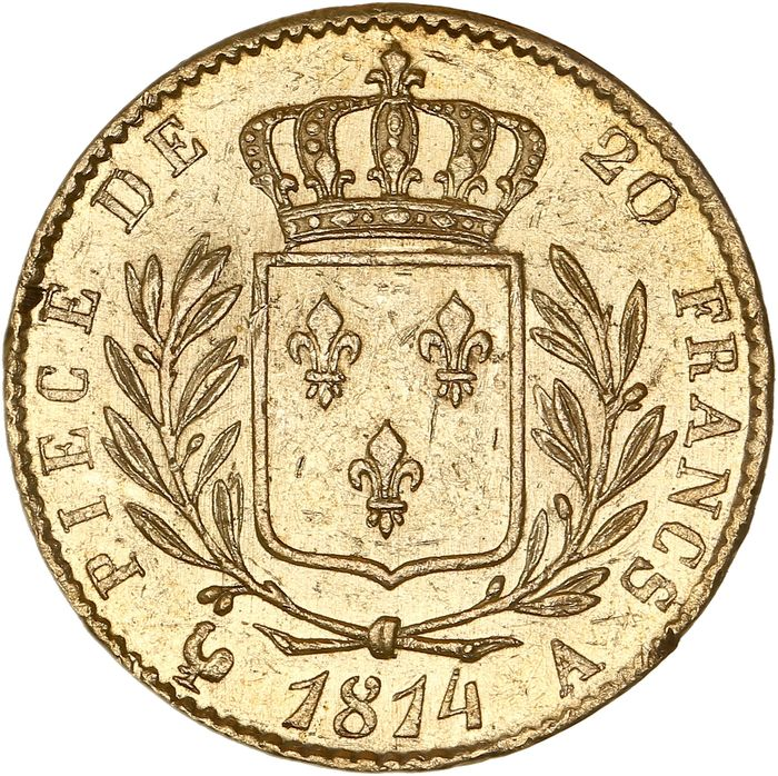 France - 20 Francs  1814-A Louis XVIII - Or