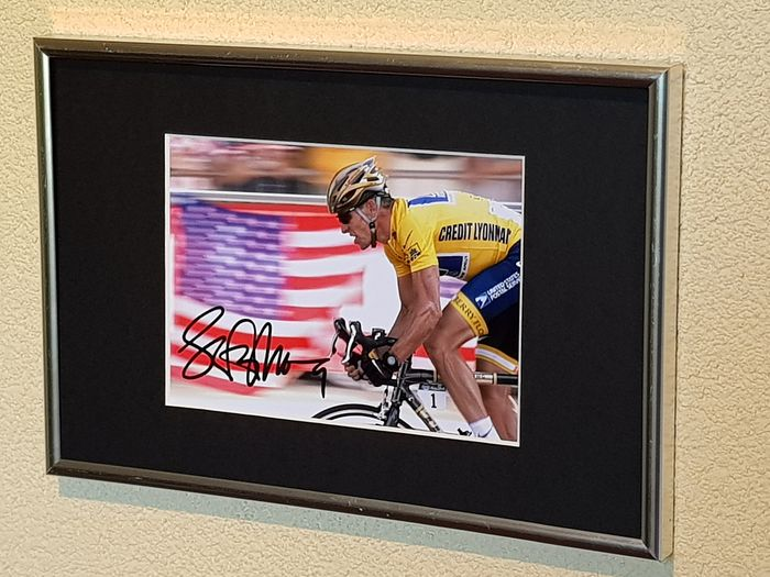 US Postal - Cycling - Lance Armstrong - 2008 - hand signed framed photograph