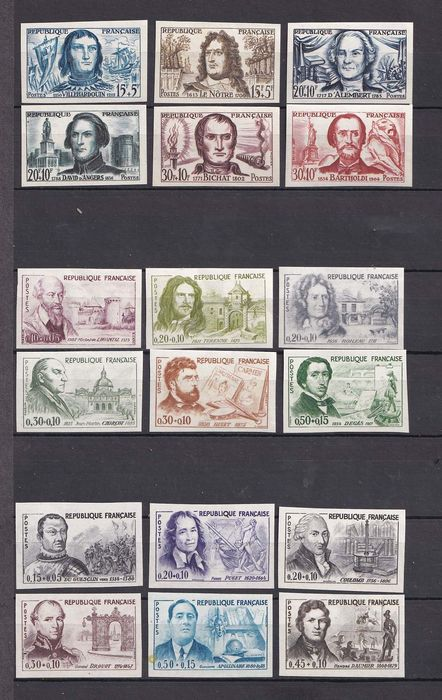 France 1959/1961 - Characters with Surtax, the 3 annual imperforate series - Yvert 1207-12, 1257-62, 1295-1300