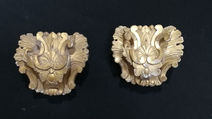 Wall sconce (2) - Baroque - Wood - Second half 18th century