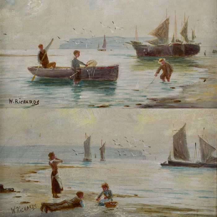 W Richards (20th century) - A pair of coastal scenes with figures