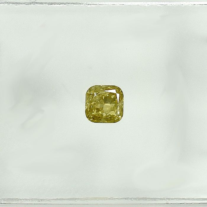 Diamant - 0.15 ct - Cushion - Natural Fancy Intense Yellow - Si2 - NO RESERVE PRICE