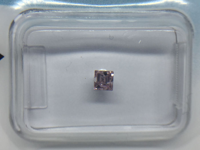 1 pcs Diamante - 0.25 ct - Brillante, Rotondo - fancy intens purple pink - I2