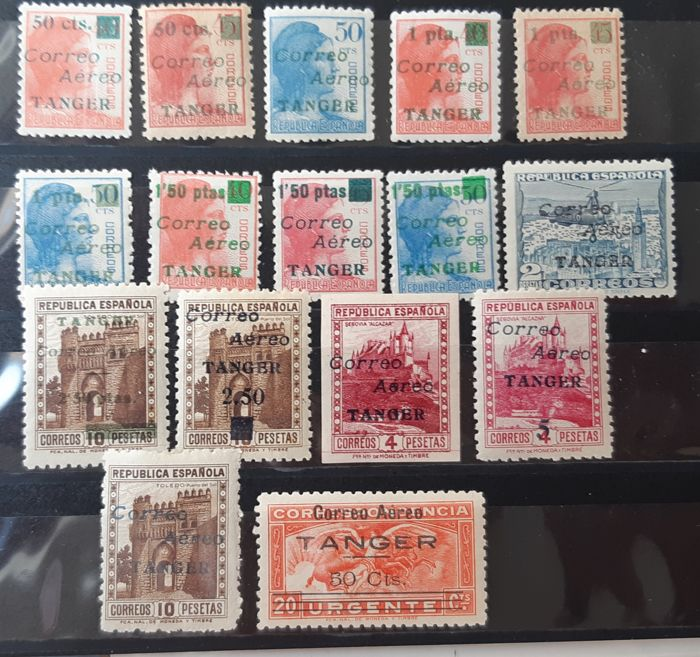 Tangier 1940 - Enabled (overprinted) stamps from Spain. Not emitted stamps. Complete set - Edifil NE10/NE25