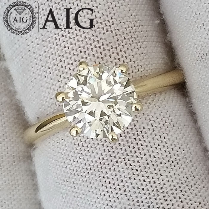 G/VS1 - 14 kt. Yellow gold - Ring - 2.01 ct Diamond