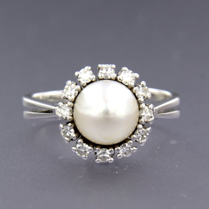 14 kt. White gold - Ring - 0.25 ct Diamond - Pearl