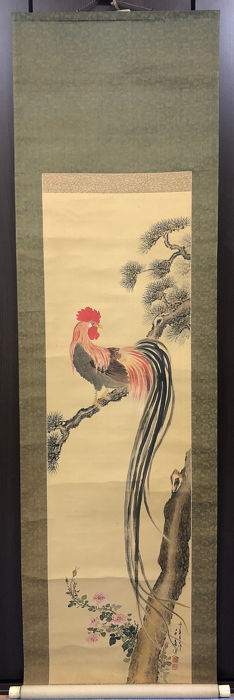Bildrolle - Knochen, Seide - Tier - Long-tailed Cock with Pine and Peonies - Japan - 1936