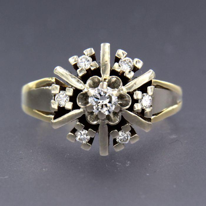 14 kt. White gold, Yellow gold - Ring - 0.33 ct Diamond
