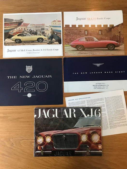 5 x Jaguar brochures  - 5 x Jaguar E Type Mark 8 ,420, XJ6  Catalogues.  - 1958-1969