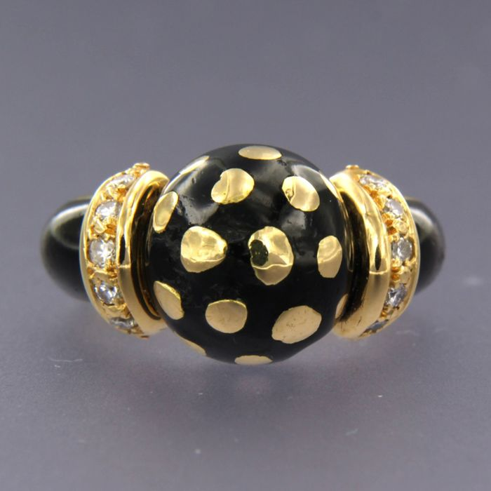 18 carati Oro giallo, smalto nero - Anello - 0.15 ct Diamante