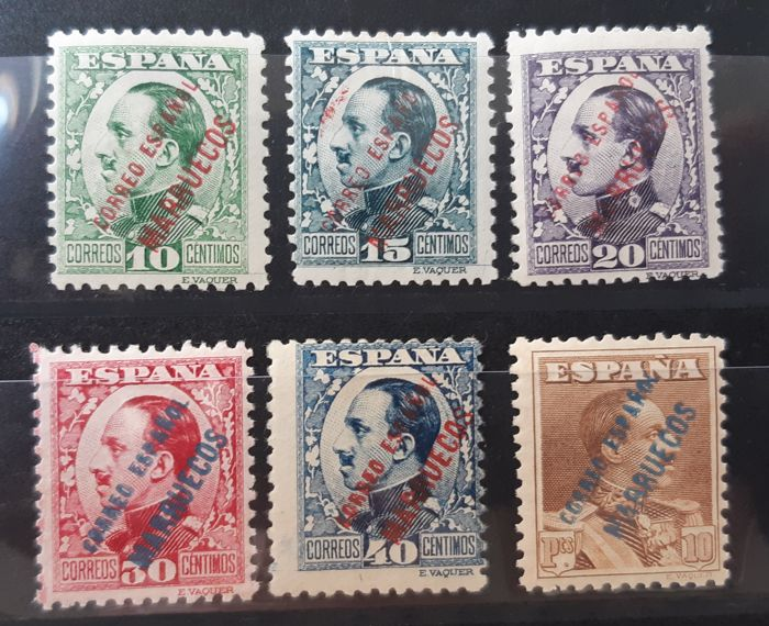 Tangier 1930/1933 - Enabled (overprinted) stamps from Spain. Complete set - Edifil 64/69