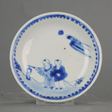 Piatto - Porcellana -  Late Ming or Transitional Plate Boys And Crab Kosometsuke - Cina - XVII secolo