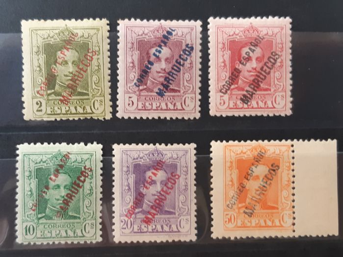 Tangier 1923 - Enabled (overprinted) stamps from Spain. Complete set - Edifil 17/22