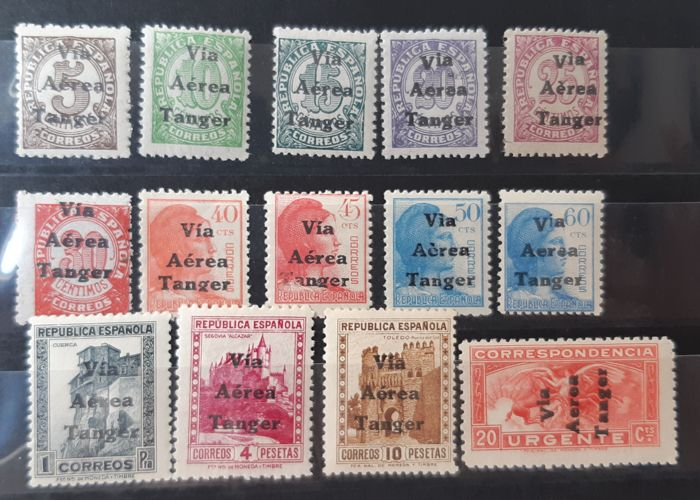Tangier 1938 - Enabled (overprinted) stamps from Spain. Complete set - Edifil 128/141