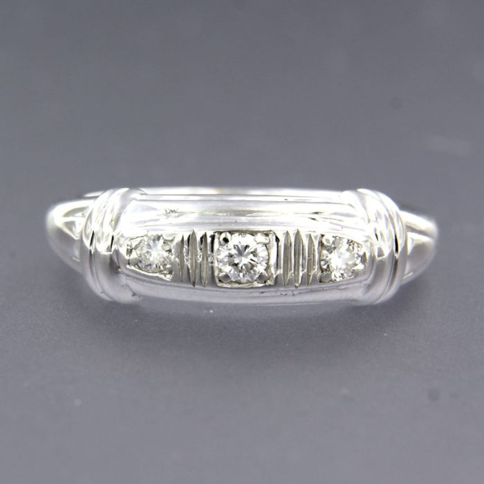 14 quilates Oro blanco - Anillo - 0.15 ct Diamante