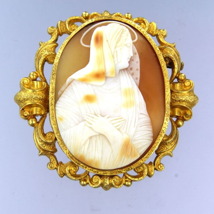 18 kt. Yellow gold - Brooch cameo