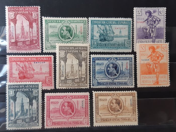 Tangier 1929 - Seville and Barcelona Exhibitions. Approved (overprinted) stamps. Complete set - Edifil 37/47