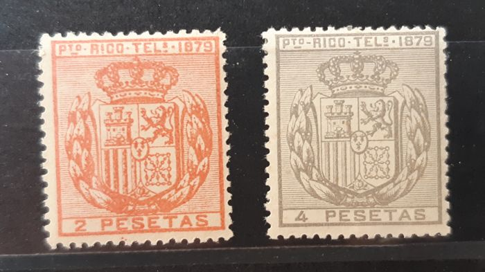 Puerto Rico 1879 - Telegraph stamps. Well-centred series - Edifil 19/20