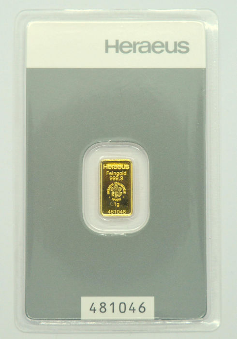 1 gram - Gold .999 - Heraeus - Seal