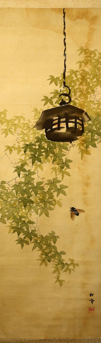 Bildrolle - Holz, Papier, Seide - Cicada and maple tree - With signature and seal 'Shuho' 秋峰 - Japan - 1926-40 (frühe Showa-Periode)