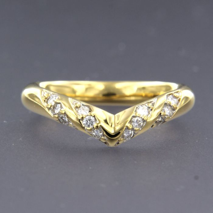18 kt. White gold, Yellow gold - Ring - 0.26 ct Diamond