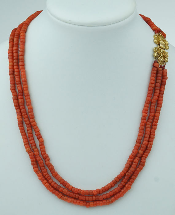 Vintage - 18 kt. Yellow gold - Necklace Blood coral
