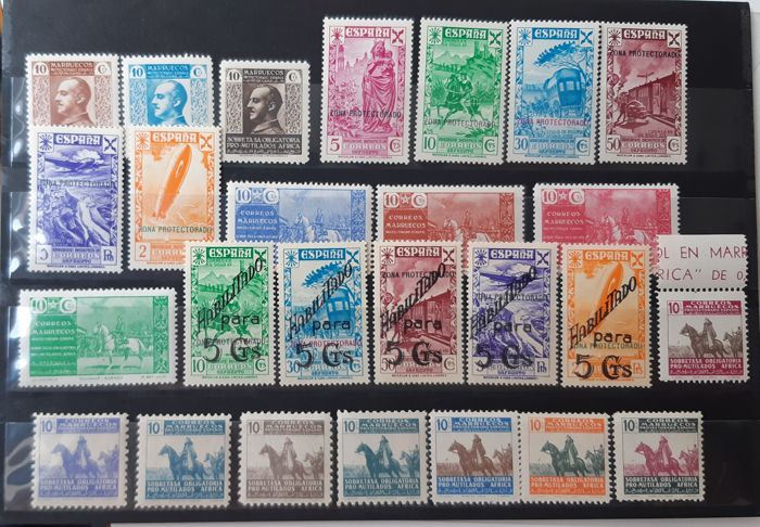 Morocco - Spanish post offices 1937/1945 - Charity. Batch of 6 complete sets - Edifil 1/3, 7/12, 13/16, 17/21, 22/25, 32/35