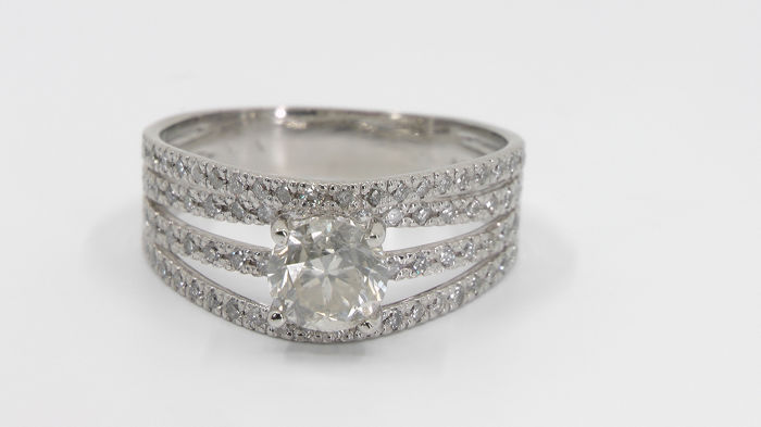14 kt. White gold - Ring - 1.05 ct Diamond - Diamonds