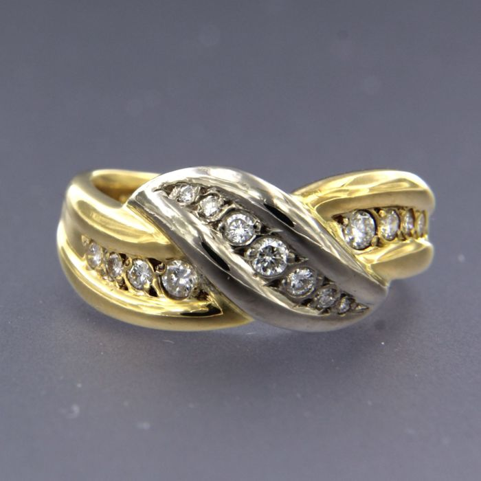 18 kt. White gold, Yellow gold - Ring - 0.40 ct Diamond