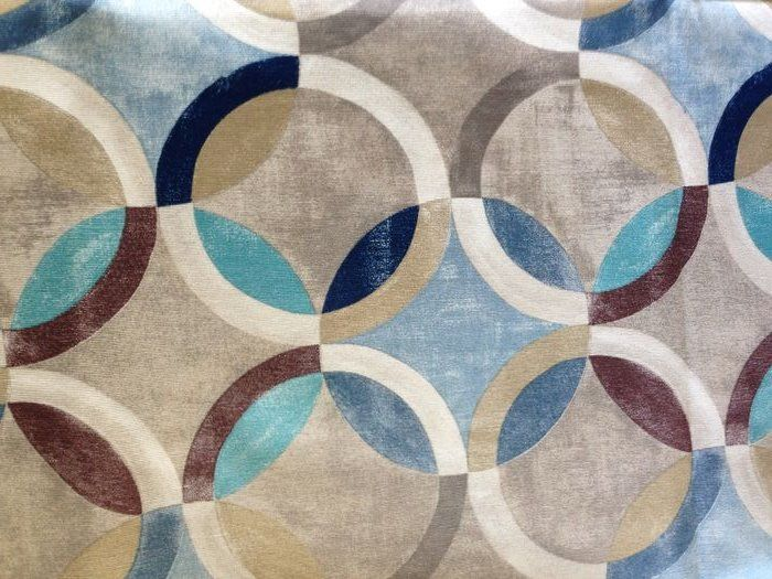 m 2.8 cubist decoration fabric in turquoise - cotton blend - Second half 20th century