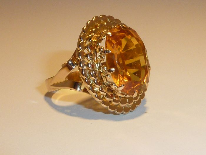 18 carats Or rose - Bague - 10.00 ct Citrine