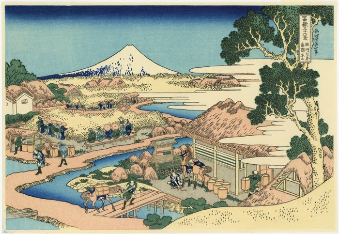 Holzschnitt (Nachdruck) - Katsushika Hokusai (1760-1849) - The Tea plantation of Katakura in Suruga Province  From the series Thirty-six Views of Mount Fuji  - Ende des 20. Jahrhunderts