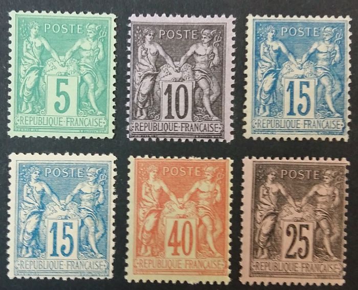 France 1876/1900 - Sage, selection of 5 copies - Yvert 75, 90, 94, 101, 102 et 103