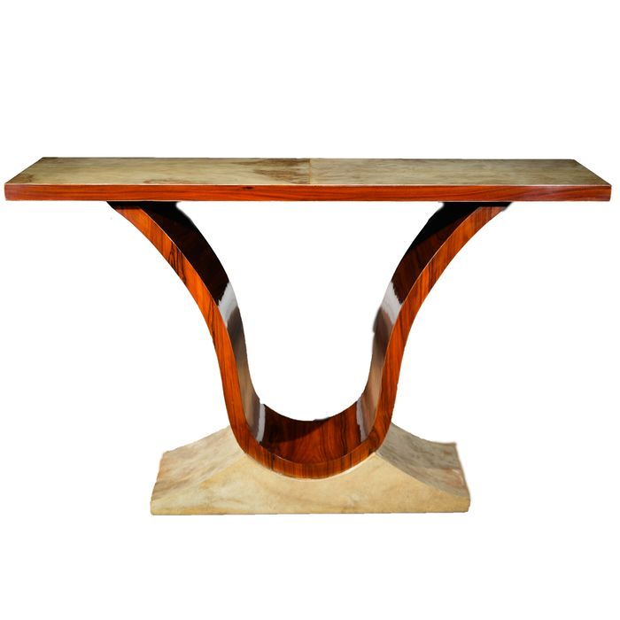 Console table, Parchment and Walnut Art Deco Style