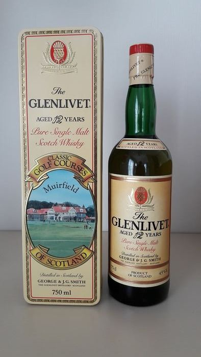 Glenlivet 12 years old Muirfield Golf Course Tin - b. 1980s - 75cl
