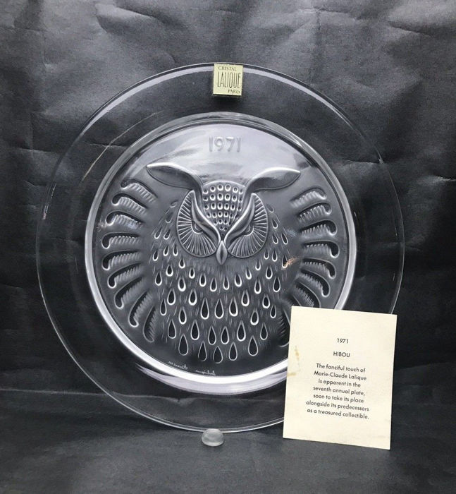 Lalique - 1971 Year Plate -  Owl Hibou - Crystal