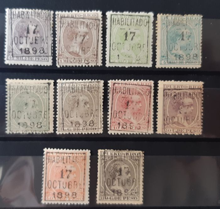 Puerto Rico 1898 - Alfonso II. Overcharge due to delivery from the island to the USA. Complete set - Edifil 174/183